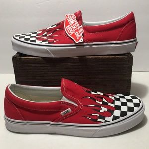 Vans Slip On Checkered Flame Racing Shoes Size 11